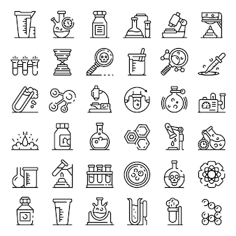 Chemisch laboratorium experiment iconen set, overzicht stijl