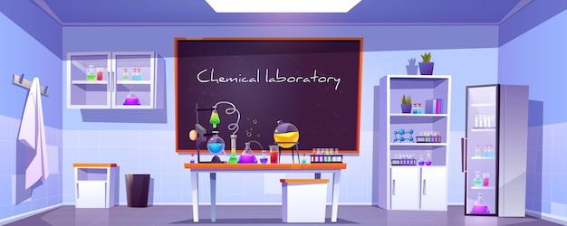 Chemisch laboratorium, lege chemiekast, kamer