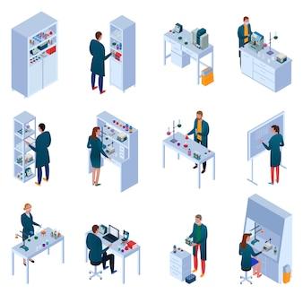 Chemisch laboratorium set isometrische pictogrammen met wetenschappers onderzoek apparatuur en meubels geïsoleerd