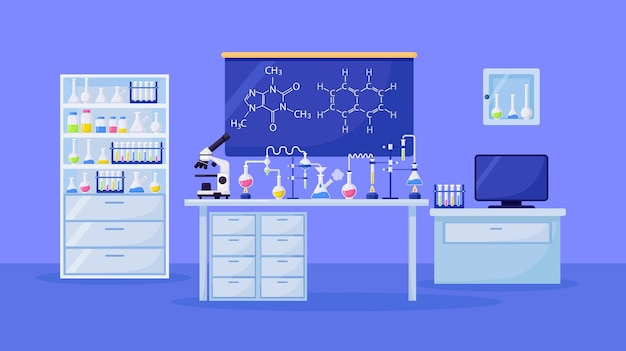 Chemisch laboratorium voor onderzoek, analyse. wetenschappelijke apparatuur, microscoop, kolven met giftige vloeistof in het klaslokaal van de chemie.