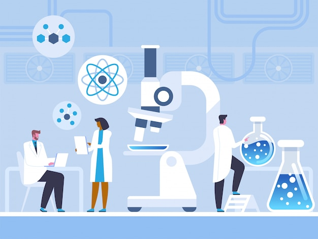 Chemisch laboratoriumonderzoek in vlakke stijl