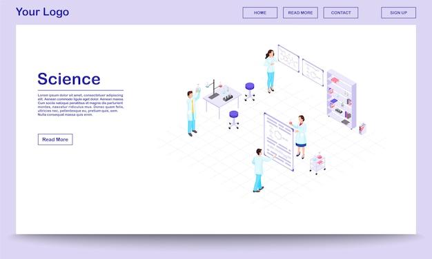 Chemisch onderzoek isometrische website sjabloon. cartoon lab-werknemers met glaswerk voor wetenschappelijk experiment. wetenschappers die chemische reacties in bekers bestuderen.