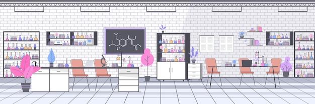 Chemisch onderzoekslaboratorium met verschillende apparatuur wetenschapper werkplek wetenschappelijk onderwijsconcept