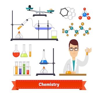 Chemische apparatuur en chemicus kleurrijke set