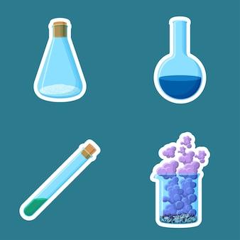 Chemische apparatuur stickers geïsoleerd op blauwe achtergrond.