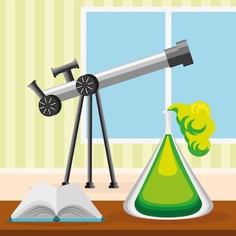 Chemische fles met telescoop