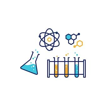 Chemische fysica lab illustratieve pictogram vectorillustratie