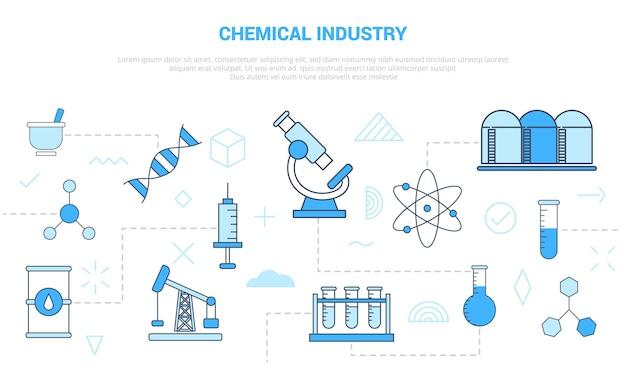 Chemische industrie concept microscoop tank dna-spuit benzine met pictogrammenset sjabloon met moderne blauwe kleur