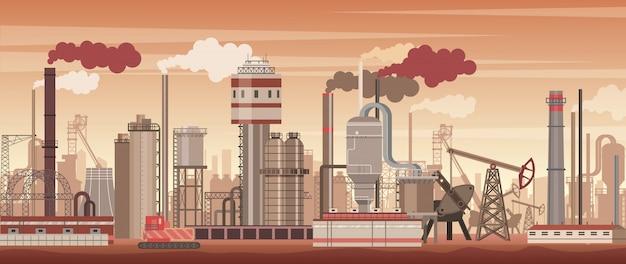 Chemische industriële landschapsachtergrond. industrie, chemiefabriek. vervuilende omgeving.