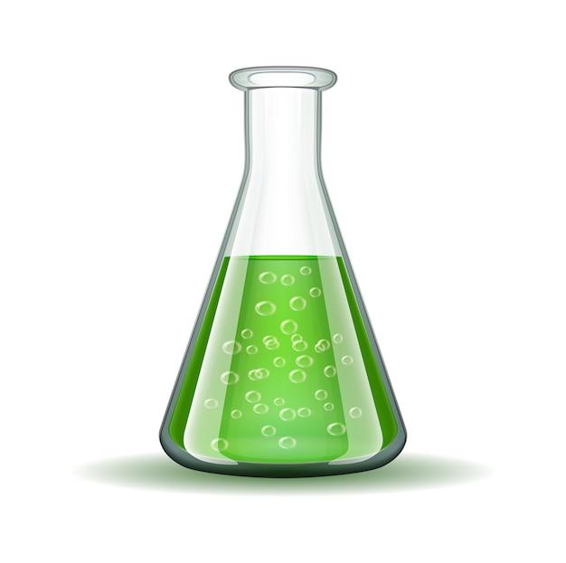 Chemische laboratorium transparante fles met groene vloeistof