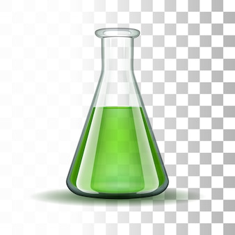 Chemische laboratorium transparante kolf met groene vloeistof