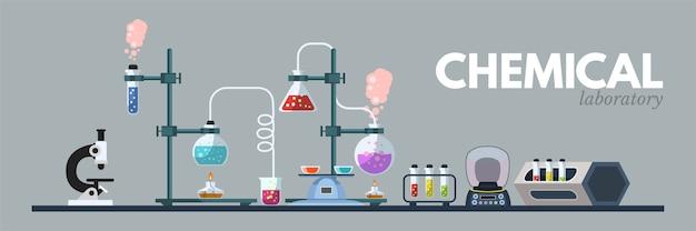 Chemische laboratoriumapparatuur illustratie, wetenschappelijke hulpmiddelen, microscoop, kolven met giftige vloeibare clipart op grijze achtergrond. cartoon medische en scheikunde laboratorium banner