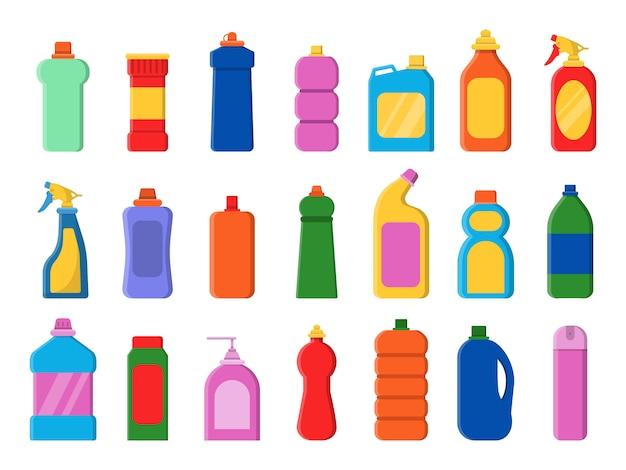 Chemische schone flessen pictogrammen instellen. wasmiddel sanitaire wasserij service containers antiseptische vector platte foto's
