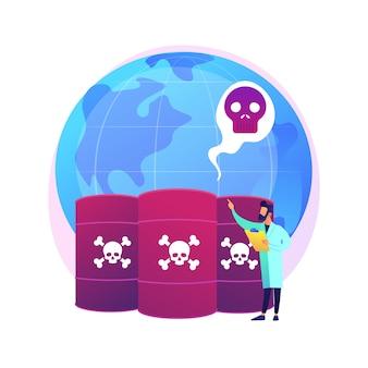 Chemische vervuiling abstract concept illustratie. gevaarlijke afvalproducten, chemische verontreiniging van stortplaatsen, probleem van industriële vervuiling, gevaarlijk en giftig afval