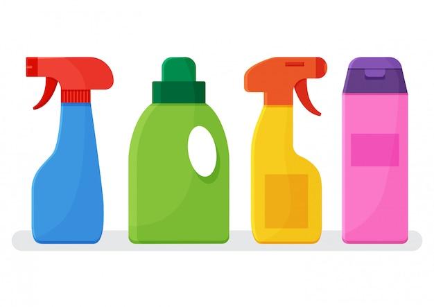 Chemische wasmiddelen. set van kleurrijke flessen reinigingsmiddel.