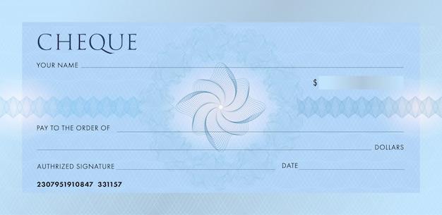 Cheque of chequeboeksjabloon. lege blauwe zakelijke bankcheque met guillochepatroonrozet en abstract watermerk.