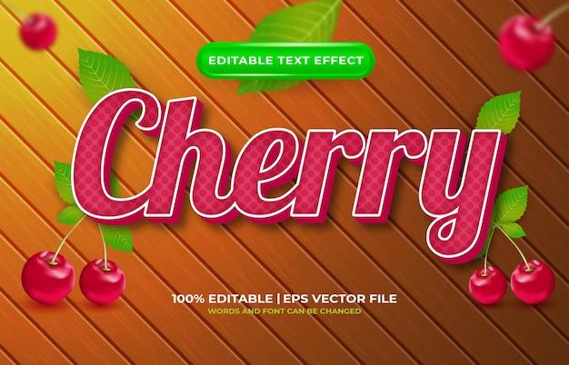Cherry 3d bewerkbare teksteffect sjabloonstijl