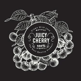 Cherry berry ontwerpsjabloon. hand getekend fruit vectorillustratie op schoolbord.