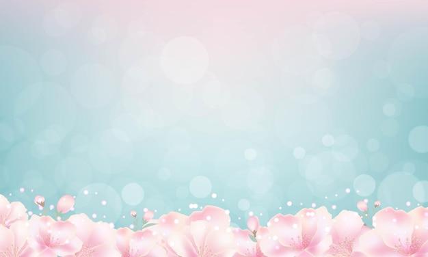 Cherry bloemen met bokeh licht achtergrond Premium Vector
