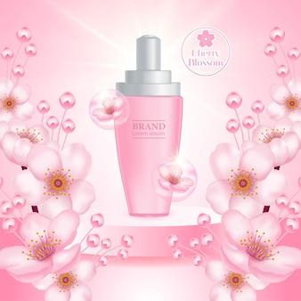Cherry blossom cream serum product illustratie