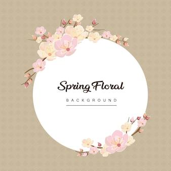 Cherry blossom spring flower background frame