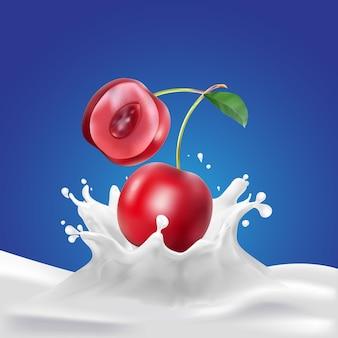 Cherry drop op melk spatten achtergrond