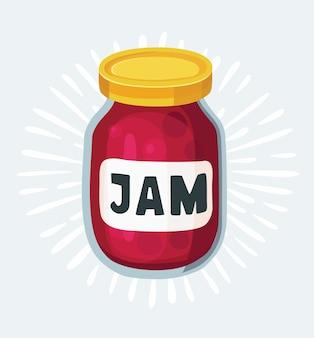 Cherry jampot icoon. hand getekende illustratie. doodle fruit achtergrond. marmelade.