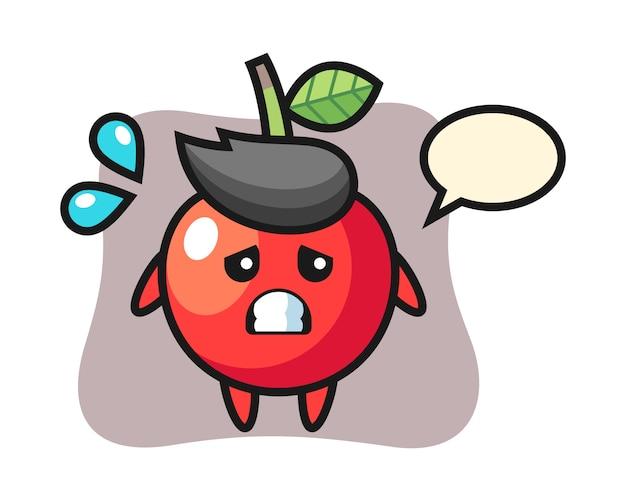 Cherry mascotte karakter met bang gebaar, schattig stijlontwerp