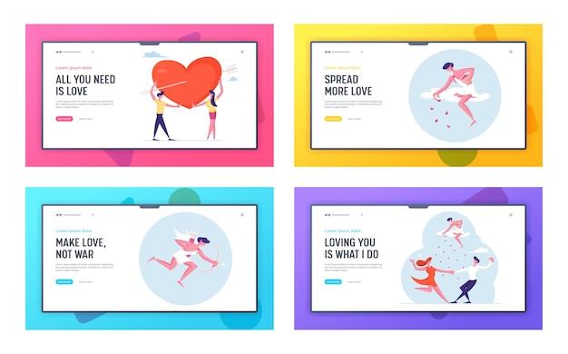 Cherub verspreidt liefde en romantiek onder mensen website bestemmingspagina set.