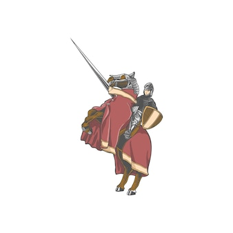 Chevalier knight middeleeuwse illustratie