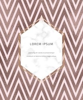 Chevron rose goud folie lijnen achtergrond met marmeren frame. geometrische sjabloon.