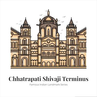 Chhatrapati shivaji terminus indiase beroemde iconische bezienswaardigheid cartoon lijntekeningen illustratie
