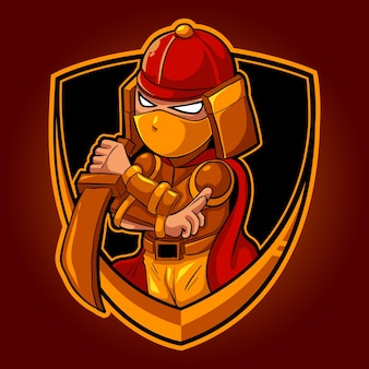 Chibi ninja samurai, mascot esports logo vectorillustratie Premium Vector