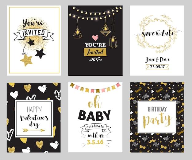 Chic party glitter wenskaarten en uitnodigingen.