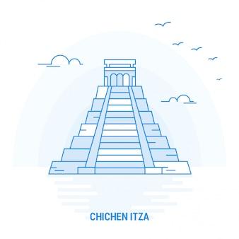 Chichen itza blue landmark