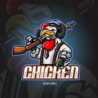Chicke mascotte esport logo ontwerp