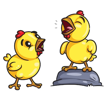 Chicks crow cartoon