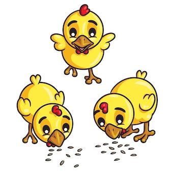Chicks eet seeds cartoon