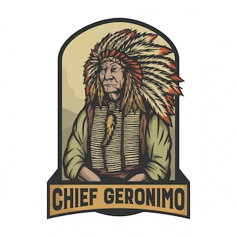 Chief geronimo als een leider van de indiase in signature pose
