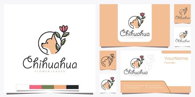 Chihuahua bloembladeren met prachtige lijntekeningen logo-ontwerpinspiratie