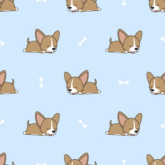 Chihuahua-puppyslaap met been naadloos patroon