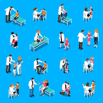 Child diseases isometric icons set