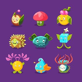 Childish alien fantastic alive plants emoji characters collection of fantasy vegetation