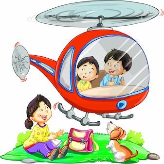Childre met helikopter