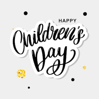 Children's dag achtergrond. happy children's day titel. happy children's day inscriptie.
