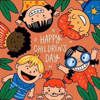 Children's dag achtergrond in de hand getekende stijl