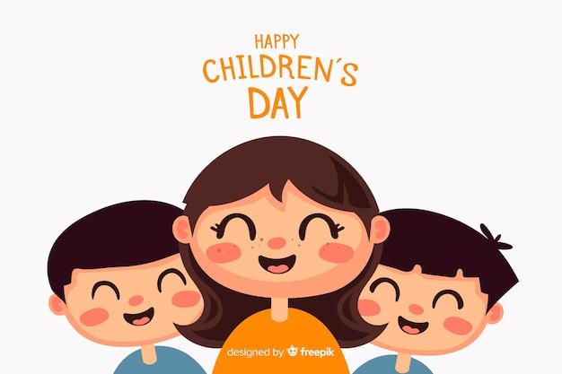 Children's dag achtergrond in plat ontwerp