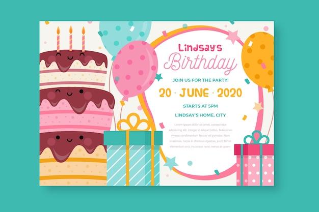 Children's day verjaardag kaart uitnodiging sjabloon