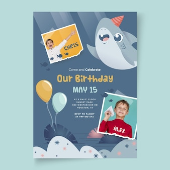 Children's verjaardag haai poster sjabloon