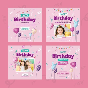 Children's verjaardag instagram postsjabloon